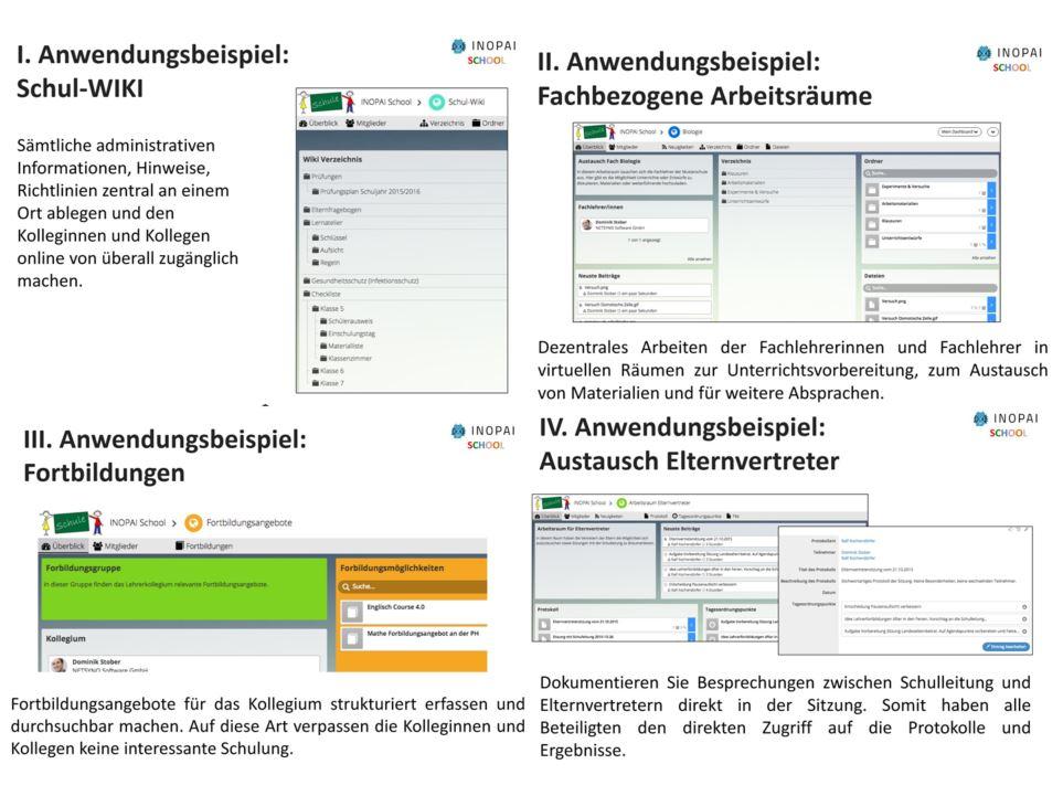 Anwendungsbeispiele von INOPAI School